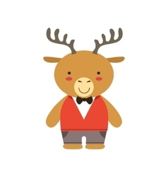 Deer In Red Vest And Bow Tie Cute Toy Baby Animal vector