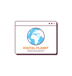 digital plant in web browser window globalization vector image