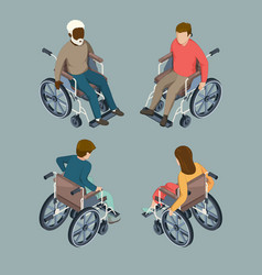 Disabled male and female people setting vector