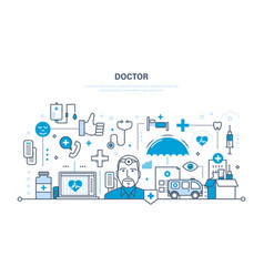 doctor and special tools atmosphere equipment vector image