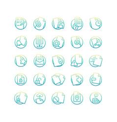 document gradient icon set vector image