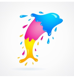 Dolphin colored cmyk print splash vector