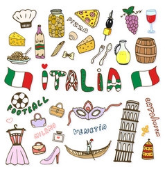 Doodle hand sketch collection of italy icons vector