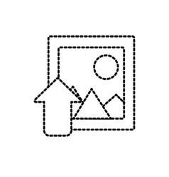 Dotted shape frame picture loading element icon vector