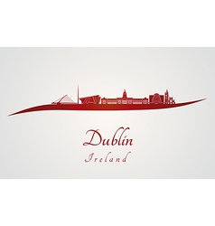 Dublin skyline in red vector image