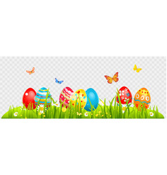easter eggs and batterflies vector image