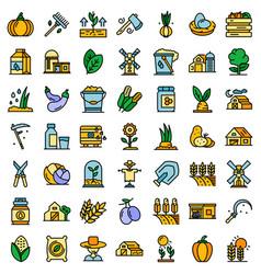 eco farming icons set flat vector image