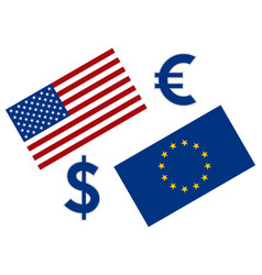 eurusd forex currency pair eu and american flag vector image