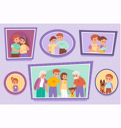 Family photos pictures on wall individual vector