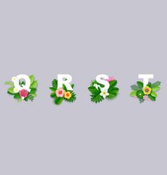 floral alphabet paper cut q vector image