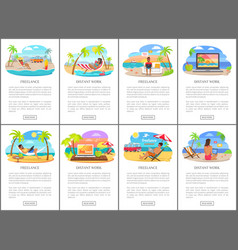 Freelance and distant work during summer posters vector