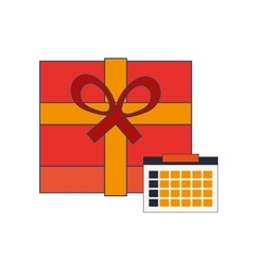 Giftbox and calendar icon vector