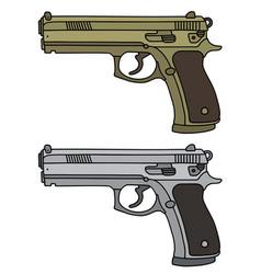 Golden and silver handguns vector