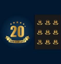 golden anniversary celebration logotype vector image