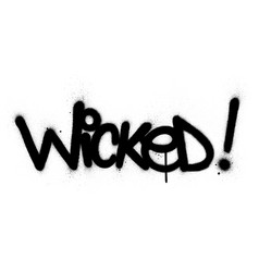 Graffiti wicked word sprayed in black over white vector