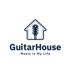 guitar house logo design inspiration in blue color vector image