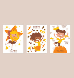 Happy childhood set cards posters vector