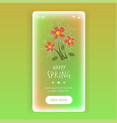 happy spring beautiful flowers lettering poster vector image