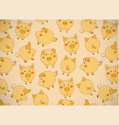 Horizontal greeting card with cute cartoon yellow vector