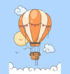 Hot air balloon fly on blue sky vector