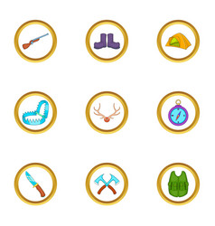 Hunter icons set cartoon style vector