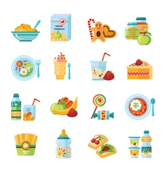 Infant bafood flat icons set vector
