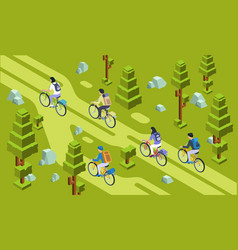 isometric tourists group bicycling forest vector image