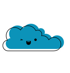 kawaii cloud icon flat in watercolor silhouette vector image