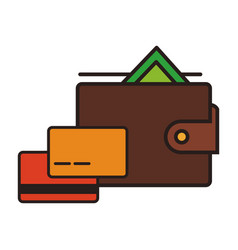 leather wallet with money symbol vector image