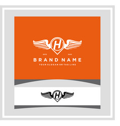 Letter h pin map wing logo design concept vector
