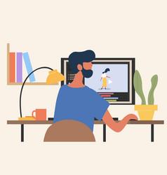 Man animator creating project vector