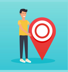 man stand next to large map pointer flat design vector image