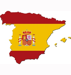 Map of Spain with national flag vector
