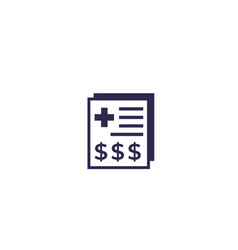 Medical bill icon on white vector