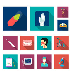 Medicine and treatment flat icons in set vector