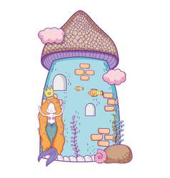 mermaid with castle undersea scene vector image