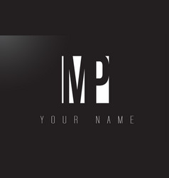 mp letter logo with black and white negative vector image