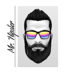 mr hipster slogan printing black and white men vector image