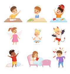 Naughty and obedient kids set cute little well vector