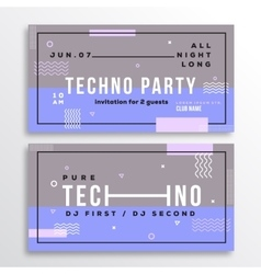 Night techno party club invitation card or flyer vector