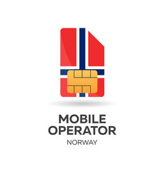 Norway mobile operator sim card with flag vector
