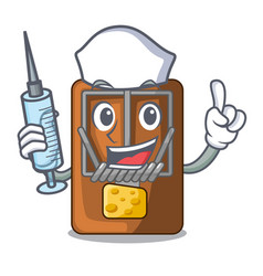 Nurse mousetrap in the shape mascot wood vector