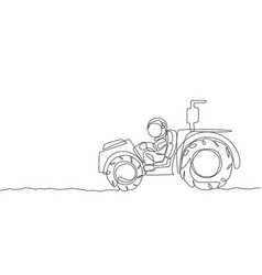 one single line drawing astronaut riding vector image