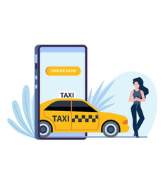 online taxi woman calls automobile through vector image