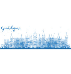 Outline guadalajara mexico city skyline with blue vector