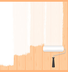 paint roller white on wooden wall for banner vector image