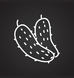Pickles line icon on black background for graphic vector