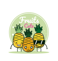 Pineapples cute fruits cartoons vector