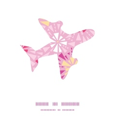 Pink abstract triangles airplane silhouette vector
