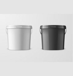 realistic 3d white and black plastic bucket vector image